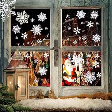 EDOTON Schneeflocken Fensterdeko Set Fensterbilder Weihnachten Selbstklebend Abnehmbare PVC Aufkleber Winter Dekoration Fensteraufkleber 6 Blatt - 6