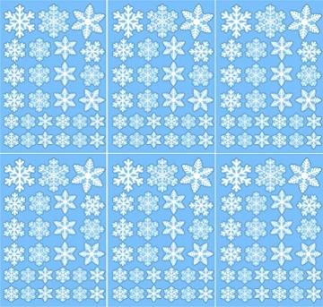 EDOTON Schneeflocken Fensterdeko Set Fensterbilder Weihnachten Selbstklebend Abnehmbare PVC Aufkleber Winter Dekoration Fensteraufkleber 6 Blatt - 7
