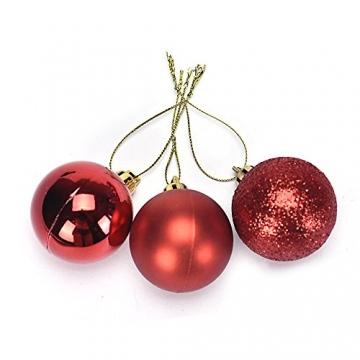 Eternali Weihnachtskugeln 24 Stücke 4CM Kunststoff Christbaumkugeln Glänzend Baumschmuck mit Weihnachtsbaumspitze und passende Aufhänger Weihnachtsdekoration Christbaumschmuck Weihnachtsbaumschmuck - 3