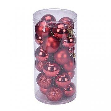 Eternali Weihnachtskugeln 24 Stücke 4CM Kunststoff Christbaumkugeln Glänzend Baumschmuck mit Weihnachtsbaumspitze und passende Aufhänger Weihnachtsdekoration Christbaumschmuck Weihnachtsbaumschmuck - 1