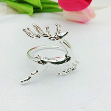 EUYuan 8 x Serviettenringe in Silber, für Weihnachten, Abendessen, Partys, Alltag, Zuhause, Tischdekoration (Rentier) - 2