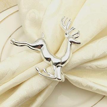 EUYuan 8 x Serviettenringe in Silber, für Weihnachten, Abendessen, Partys, Alltag, Zuhause, Tischdekoration (Rentier) - 3