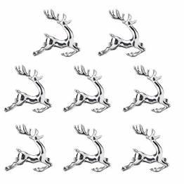 EUYuan 8 x Serviettenringe in Silber, für Weihnachten, Abendessen, Partys, Alltag, Zuhause, Tischdekoration (Rentier) - 1
