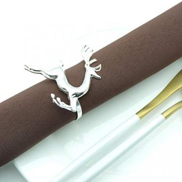 EUYuan 8 x Serviettenringe in Silber, für Weihnachten, Abendessen, Partys, Alltag, Zuhause, Tischdekoration (Rentier) - 5