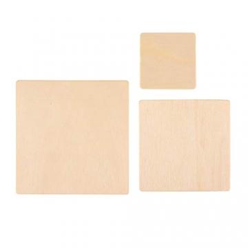 ewtshop® 40 Holz-Quadrate, 3 Größen: 10 cm + 8 cm + 5 cm, für Bastelarbeiten, als Dekoration, 2mm Dicke - 2