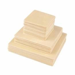 ewtshop® 40 Holz-Quadrate, 3 Größen: 10 cm + 8 cm + 5 cm, für Bastelarbeiten, als Dekoration, 2mm Dicke - 1