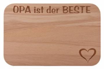 FABRIKSTORES Frühstücksbrettchen/Frühstücksbrett mit Gravur Opa ist der Beste als Geschenk - Buchenholz - Abgerundete Ecken - Geschenkidee ideal für Vatertag oder andere Anlässe - Gute Qualität - 1