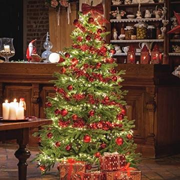 FairyTrees künstlicher Weihnachtsbaum ALPENTANNE Premium, Material Mix aus Spritzguss & PVC, Ständer aus Holz, 180cm, FT17-180 - 3