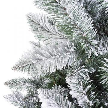 FairyTrees künstlicher Weihnachtsbaum FICHTE, Natur-Weiss mit Schneeflocken, Material PVC, inkl. Holzständer, 180cm, FT13-180 - 2
