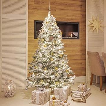 FairyTrees künstlicher Weihnachtsbaum FICHTE, Natur-Weiss mit Schneeflocken, Material PVC, inkl. Holzständer, 180cm, FT13-180 - 3
