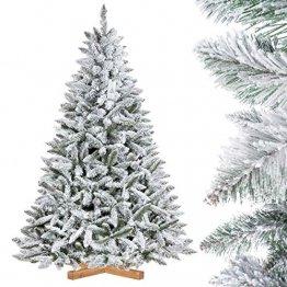 FairyTrees künstlicher Weihnachtsbaum FICHTE, Natur-Weiss mit Schneeflocken, Material PVC, inkl. Holzständer, 180cm, FT13-180 - 1