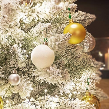 FairyTrees künstlicher Weihnachtsbaum FICHTE, Natur-Weiss mit Schneeflocken, Material PVC, inkl. Holzständer, 180cm, FT13-180 - 4