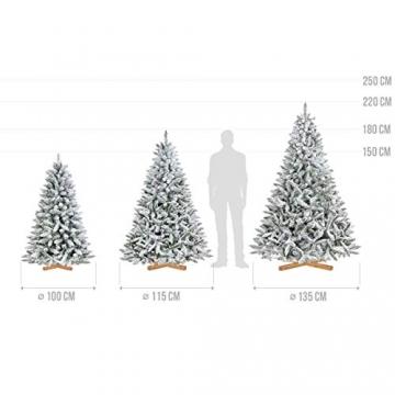 FairyTrees künstlicher Weihnachtsbaum FICHTE, Natur-Weiss mit Schneeflocken, Material PVC, inkl. Holzständer, 180cm, FT13-180 - 5