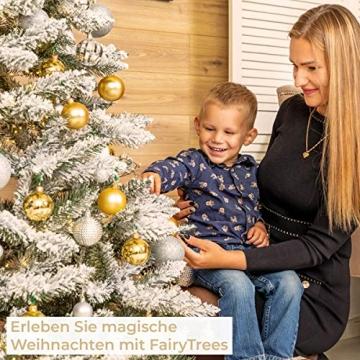 FairyTrees künstlicher Weihnachtsbaum FICHTE, Natur-Weiss mit Schneeflocken, Material PVC, inkl. Holzständer, 180cm, FT13-180 - 6