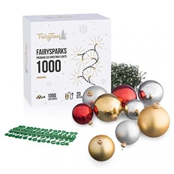 FairyTrees künstlicher Weihnachtsbaum FICHTE, Natur-Weiss mit Schneeflocken, Material PVC, inkl. Holzständer, 180cm, FT13-180 - 8