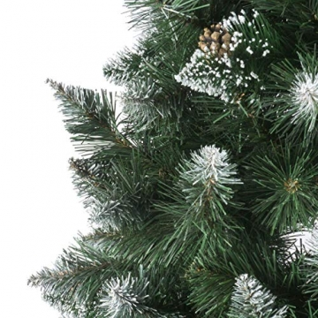 FairyTrees künstlicher Weihnachtsbaum Slim, Kiefer Natur-Weiss beschneit, Material PVC, echte Tannenzapfen, inkl. Holzständer, 180cm, FT09-180 - 2