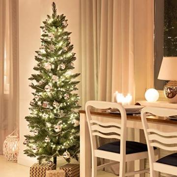 FairyTrees künstlicher Weihnachtsbaum Slim, Kiefer Natur-Weiss beschneit, Material PVC, echte Tannenzapfen, inkl. Holzständer, 180cm, FT09-180 - 3