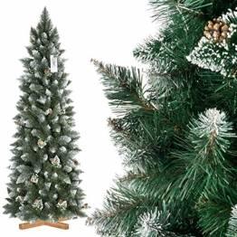 FairyTrees künstlicher Weihnachtsbaum Slim, Kiefer Natur-Weiss beschneit, Material PVC, echte Tannenzapfen, inkl. Holzständer, 180cm, FT09-180 - 1