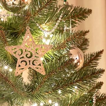 FairyTrees künstlicher Weihnachtsbaum Slim, Kiefer Natur-Weiss beschneit, Material PVC, echte Tannenzapfen, inkl. Holzständer, 180cm, FT09-180 - 4