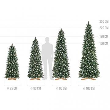 FairyTrees künstlicher Weihnachtsbaum Slim, Kiefer Natur-Weiss beschneit, Material PVC, echte Tannenzapfen, inkl. Holzständer, 180cm, FT09-180 - 5