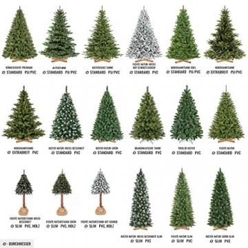 FairyTrees künstlicher Weihnachtsbaum Slim, Kiefer Natur-Weiss beschneit, Material PVC, echte Tannenzapfen, inkl. Holzständer, 180cm, FT09-180 - 7