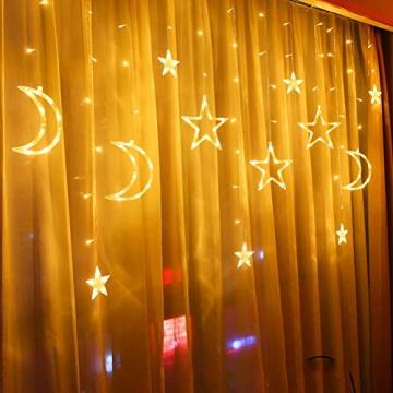 Fangteke LED Lichterketten 3.5M Stern Mond Vorhang Lichter LED Girlande Dekorative Lampe für Hochzeit Hausgarten Weihnachten Fenster Vorhang Dekoration - 8