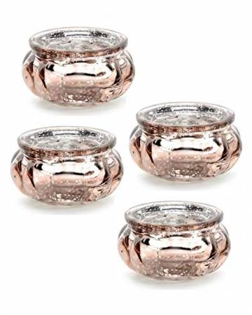 Feste Feiern Teelichthalter Rosso 4er Set Glas Orange Altrosa Rose´ Kerzenhalter Deko Windlicht farblich changierend Tischdeko Tafel - 1