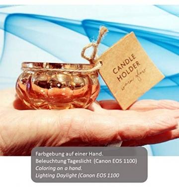Feste Feiern Teelichthalter Rosso 4er Set Glas Orange Altrosa Rose´ Kerzenhalter Deko Windlicht farblich changierend Tischdeko Tafel - 5