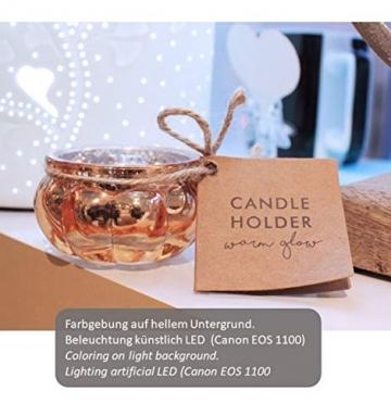 Feste Feiern Teelichthalter Rosso 4er Set Glas Orange Altrosa Rose´ Kerzenhalter Deko Windlicht farblich changierend Tischdeko Tafel - 6