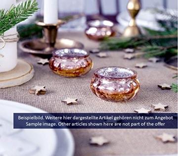 Feste Feiern Teelichthalter Rosso 4er Set Glas Orange Altrosa Rose´ Kerzenhalter Deko Windlicht farblich changierend Tischdeko Tafel - 7