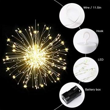 Feuerwerk Lichterketten, 4 Stücke Starburst Lichter Feuerwerk LED Licht Kupferdraht Feuerwerk Lichter Weihnachten Feuerwerk Zeichenfolge 8 Modi wasserdicht mit Fernbedienung - 2