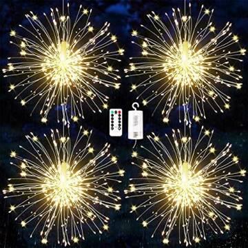 Feuerwerk Lichterketten, 4 Stücke Starburst Lichter Feuerwerk LED Licht Kupferdraht Feuerwerk Lichter Weihnachten Feuerwerk Zeichenfolge 8 Modi wasserdicht mit Fernbedienung - 1