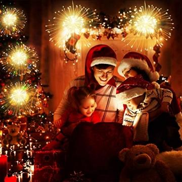 Feuerwerk Lichterketten, 4 Stücke Starburst Lichter Feuerwerk LED Licht Kupferdraht Feuerwerk Lichter Weihnachten Feuerwerk Zeichenfolge 8 Modi wasserdicht mit Fernbedienung - 5