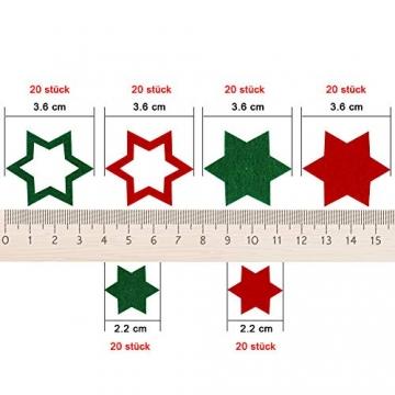 FHzytg 120 Stück Filz Sterne, Tischdeko Weihnachten Filz Weihnachten Sterne Filz, Filz Sterne Weihnachten Streudeko Sterne Filz, Weihnachtsdeko Tischdeko Streudeko Sterne Filz Weihnachten - 2