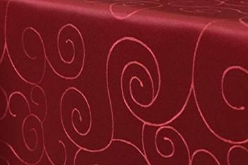 First-Tex Ornament Damast Tischdecke 160 cm, rund, rot, pflegeleicht, hochwertig - 1