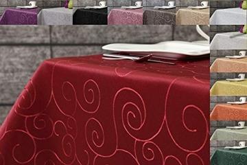 First-Tex Ornament Damast Tischdecke 160 cm, rund, rot, pflegeleicht, hochwertig - 2