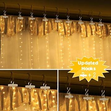 Fulighture LED Lichtervorhang, 3 * 3M 300er Lichterketten Vorhang mit USB Fernbedienung 8 Modi, Warmweiß - 3