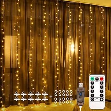 Fulighture LED Lichtervorhang, 3 * 3M 300er Lichterketten Vorhang mit USB Fernbedienung 8 Modi, Warmweiß - 1