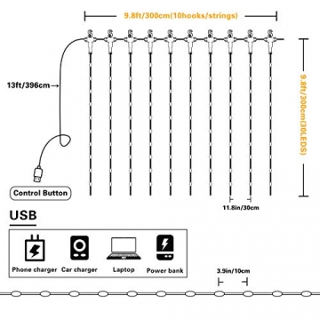 Fulighture LED Lichtervorhang, 3 * 3M 300er Lichterketten Vorhang mit USB Fernbedienung 8 Modi, Warmweiß - 6
