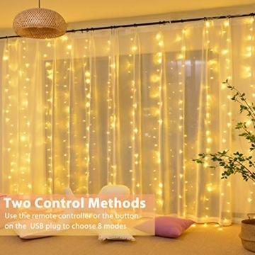 Fulighture LED Lichtervorhang, 3 * 3M 300er Lichterketten Vorhang mit USB Fernbedienung 8 Modi, Warmweiß - 7