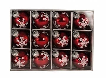 Geschenkestadl 12 Weihnachtskugel Glas Rot glänzend Christbaumschmuck Ø 3 cm Baumschmuck Weihnachten Schneeflocke Anhänger - 1