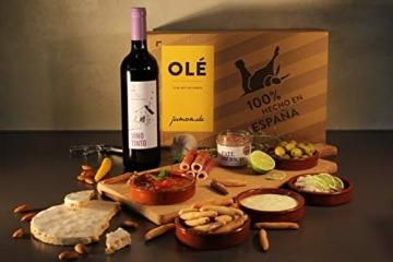 Geschenkkorb Olé mit spanischen Delikatessen I Präsentkorb gefüllt mit ausgesuchten Tapas-Klassikern & Rotwein aus Spanien - 4