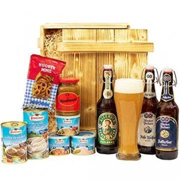 Geschenkset München   Großer Bayern Geschenkkorb mit Bier, Bierglas & bayrischen Spezialitäten   Bayerisches Geschenk Set gefüllt für Frauen & Männer   Typisch deutscher Wurst Präsentkorb - 1