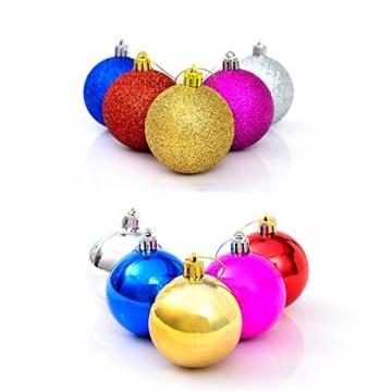 Gespout 24 Stück Bunt Weihnacht Kugeln Ornamente Weihnachtskugeln Christmas Decoration Balls Christbaumkugeln Kugel Weihnachten Deko Anhänger 8cm,Rot - 2