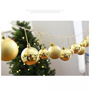 Gespout 24 Stück Bunt Weihnacht Kugeln Ornamente Weihnachtskugeln Christmas Decoration Balls Christbaumkugeln Kugel Weihnachten Deko Anhänger 8cm,Rot - 3