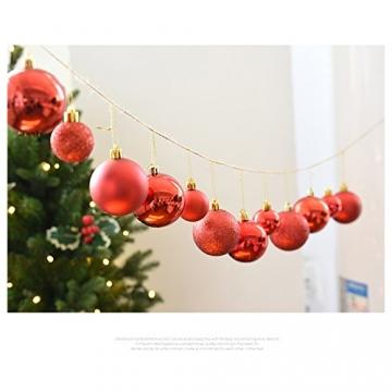 Gespout 24 Stück Bunt Weihnacht Kugeln Ornamente Weihnachtskugeln Christmas Decoration Balls Christbaumkugeln Kugel Weihnachten Deko Anhänger 8cm,Rot - 4