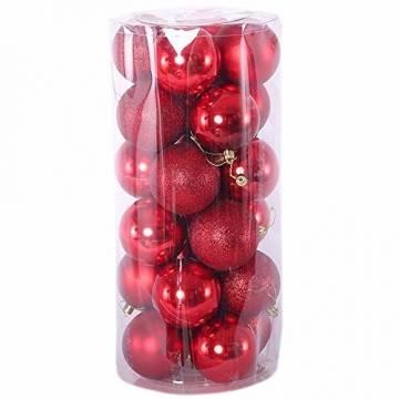 Gespout 24 Stück Bunt Weihnacht Kugeln Ornamente Weihnachtskugeln Christmas Decoration Balls Christbaumkugeln Kugel Weihnachten Deko Anhänger 8cm,Rot - 1