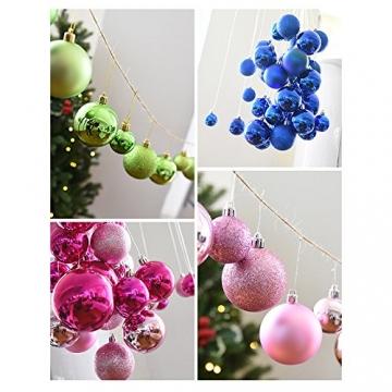 Gespout 24 Stück Bunt Weihnacht Kugeln Ornamente Weihnachtskugeln Christmas Decoration Balls Christbaumkugeln Kugel Weihnachten Deko Anhänger 8cm,Rot - 8
