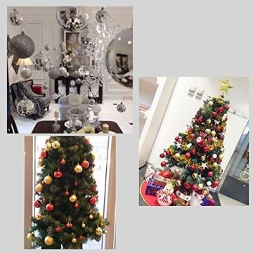 Gespout 24 Stück Bunt Weihnacht Kugeln Ornamente Weihnachtskugeln Christmas Decoration Balls Christbaumkugeln Kugel Weihnachten Deko Anhänger 8cm,Rot - 9