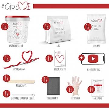 GipsME 3D Handabdruck Set für Paare - Alginat Gipsabdruckset - Partner und Pärchen Geschenke für Erwachsene als Muttertag, Hochzeitstag, Jahrestag-Geschenk für Sie und Ihn - 2